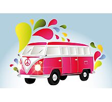 Colorful retro van with splashes Photographic Print