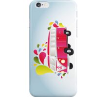 Colorful retro van with splashes iPhone Case/Skin