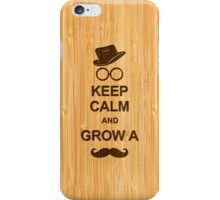 Keep Calm and Grow a Mustache in Bamboo Look iPhone Case/Skin