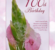 100th Birthday Card With Pink Flower And Ice Crystals by Moonlake