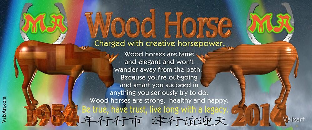 Chinese Zodiac, wood horse, 1954, 2014, born, by Valxart