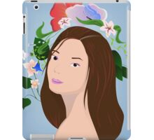 Brunette with flowers iPad Case/Skin