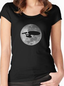 USS Enterprise against the Moon Women's Fitted Scoop T-Shirt
