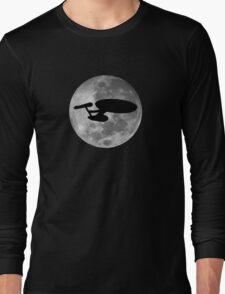 USS Enterprise against the Moon Long Sleeve T-Shirt