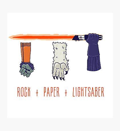 Rock Paper Lightsaber Photographic Print