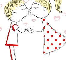 boy and girl kiss colorful by Marishkayu