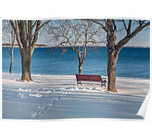 A bench on the shore Poster