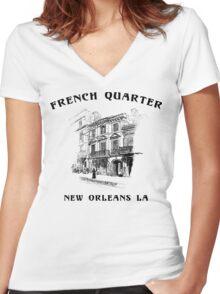 Mardi Gras French Quarter New Orleans Women's Fitted V-Neck T-Shirt
