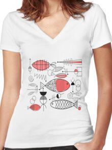 Mid-Century Fish Salmon Pink Women's Fitted V-Neck T-Shirt