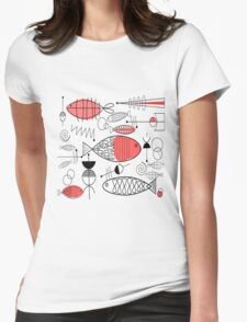 Mid-Century Fish Salmon Pink Womens Fitted T-Shirt
