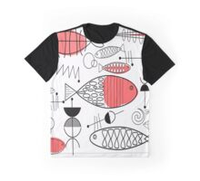 Mid-Century Fish Salmon Pink Graphic T-Shirt