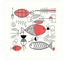 Mid-Century Fish Salmon Pink Art Print
