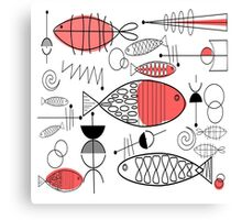 Mid-Century Fish Salmon Pink Canvas Print