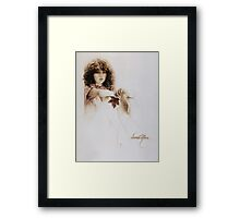 """Girl with Maple Leaf"" Painting in Oils Framed Print"