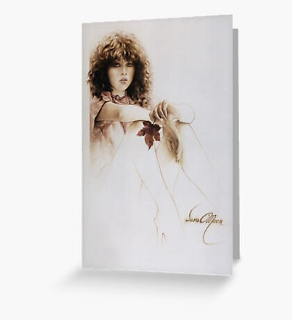 """""""Girl with Maple Leaf"""" Painting in Oils Greeting Card"""