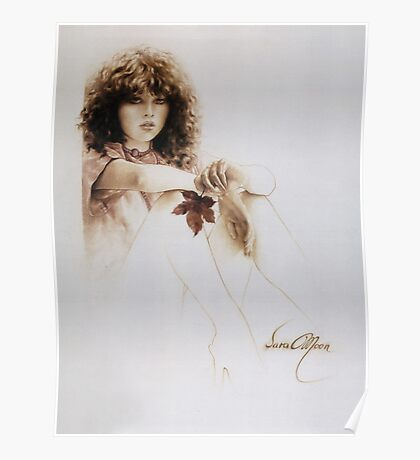 """Girl with Maple Leaf"" Painting in Oils Poster"