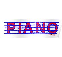 Piano Red White & Blue Poster