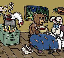 Teddy Bear And Bunny - The Flu by Brett Gilbert