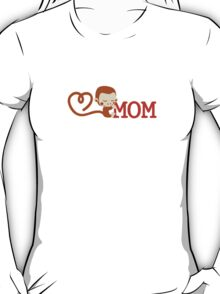 Cute Monkey loves Mom T-Shirt