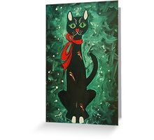 Cat with a Red Bow Greeting Card