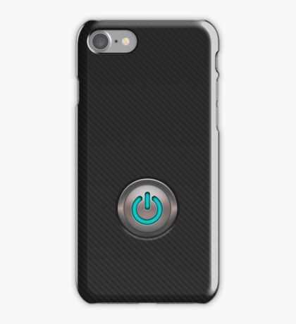 carbon fibre iPhone case with neon power button iPhone Case/Skin