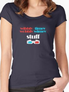 wibbly wobbly timey wimey stuff in 3D Women's Fitted Scoop T-Shirt