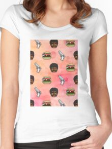 Pulp Fiction Big Kahuna Burger Pattern Women's Fitted Scoop T-Shirt