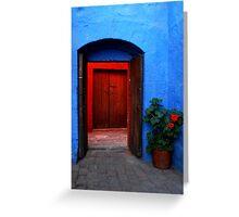 Blue Patio and Red Geranium Greeting Card
