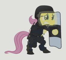 Riot shield Fluttershy - Military Pony by missbrodrick
