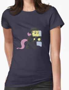 Riot shield Fluttershy - Military Pony Womens Fitted T-Shirt