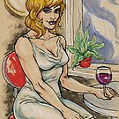 Seated Woman With Wine by JohnnyGolden