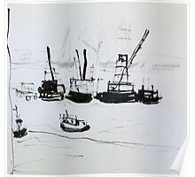 Busy Harbour Poster