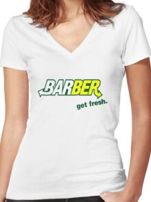 "Barber Get Fresh  ""Subway"" Women's Fitted V-Neck T-Shirt"