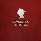 Sherlock Silhouette iPad/iPhone Case - Red by jlechuga