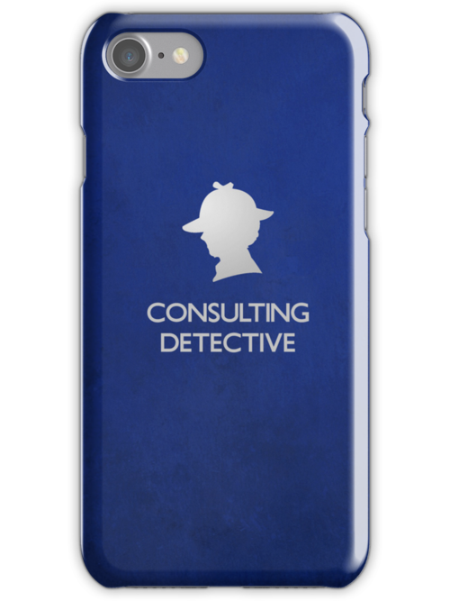Sherlock Silhouette iPad/iPhone Case - Blue by jlechuga