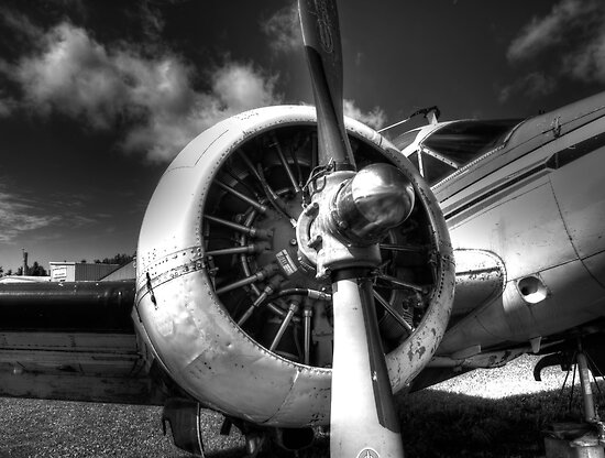 Black and White Plane Engine by Thomas Young