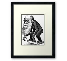 Darwin as a monkey Framed Print