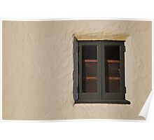 Green wood window stucco wall Poster