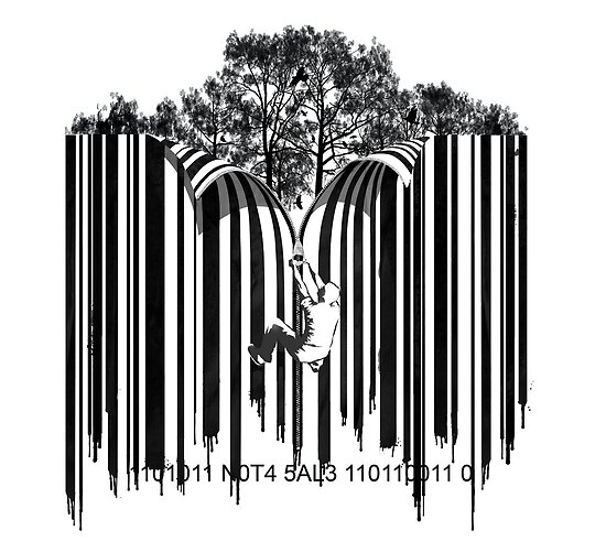 UNZIP THE CODE barcode graffiti print illustration by SFDesignstudio