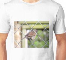 Female Dunnock Perching On Wire Unisex T-Shirt