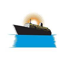 Passenger Ship Cargo Boat Retro by patrimonio