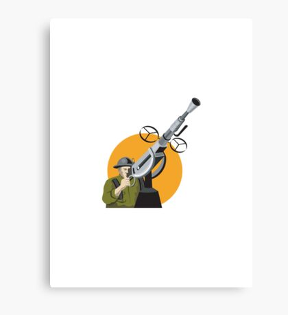World War Two British Soldier Machine Gun Canvas Print