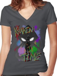 Kraken Time Women's Fitted V-Neck T-Shirt