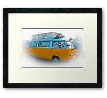 Vehicle - Orange Camper Van Framed Print