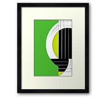 Geometric Guitar Abstract in Green Black White Framed Print