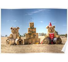Christmas Teddys From Hay Bales Poster