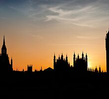 London sunset - The Houses of Parliament & Big Ben by Chilla Palinkas