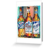 Miller Lite, Coors Light, Busch Light - Beer Art Print -  Greeting Card