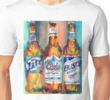 Miller Lite, Coors Light, Busch Light - Beer Art Print -  Unisex T-Shirt