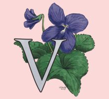 V is for Violet floating Kids Tee